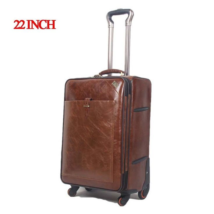 144.27$  Watch here - http://alisx1.worldwells.pw/go.php?t=32358870559 - 22 INCH Coffee Leather Trolley Luggage Business Trolley Case Men's Suitcase Travel Luggage Bag Rolling Shipping by EMS valise