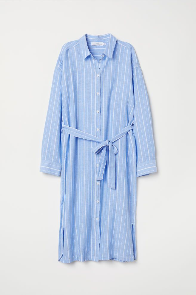 06a81b421 Cotton-blend shirt dress - Light blue/White striped - Ladies | H&M 1 ...