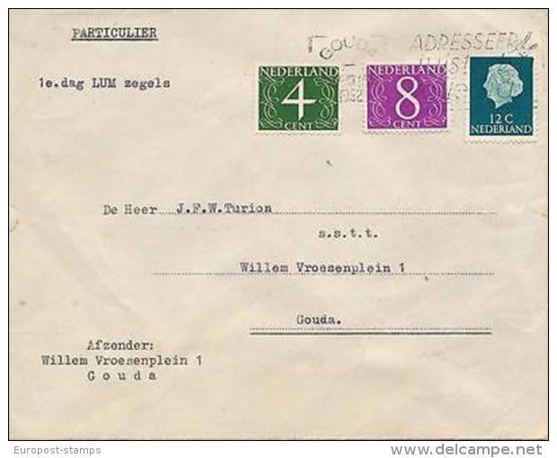 FDC - [57550] Nederland 1962 Eerste Dag Brief Gouda Fluor zegels 27-VIII