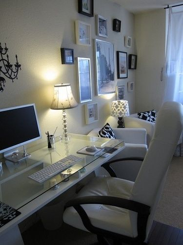 Minimalist Cozy Home Office Design Ideas. See More. Love The Look Of Clean  White Lines With Pops Of Color. Want To Look Fresh