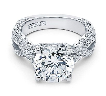 """For the one who loves twists and curves, this ribbon twist """"RoyalT"""" style ring featuring a 4.00 carat at the center & pave diamond details. Beautiful... but he'd have to sell the farm!!!!!!!!"""
