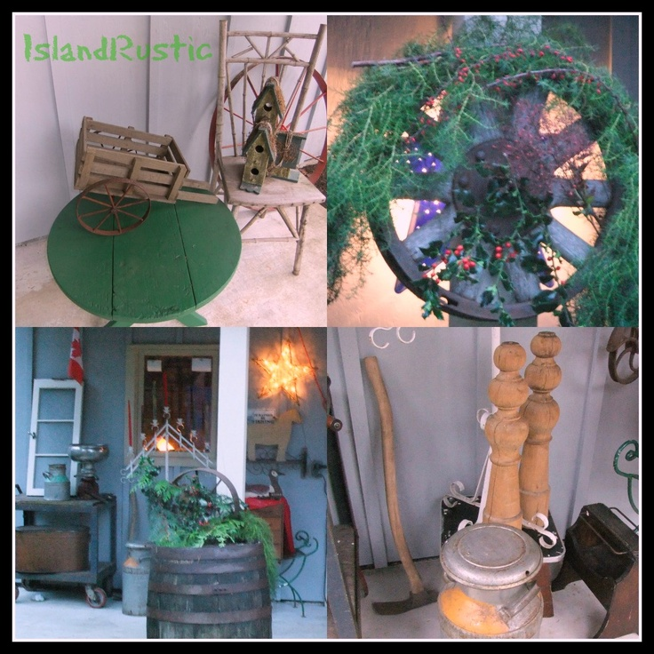 Island Rustic - starting to decorated porch for Christmas 2012