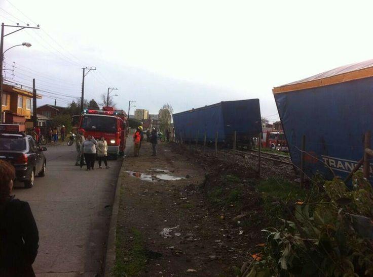 Descarrilamiento de tren en Barrio Norte, Concepción.
