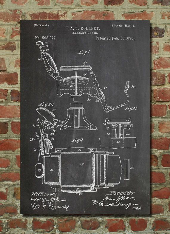 Hey, I found this really awesome Etsy listing at https://www.etsy.com/listing/176223866/barbers-chair-patent-wall-art-poster