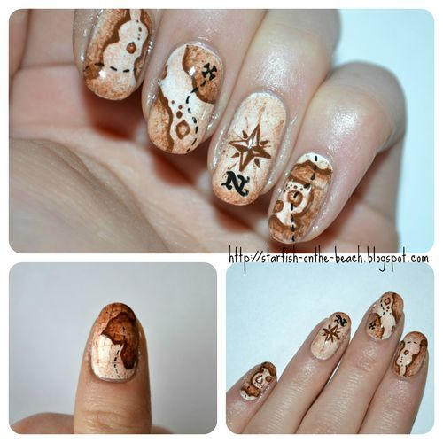TheNailGuru (treasure,treasure map,map,pirate,nail art)