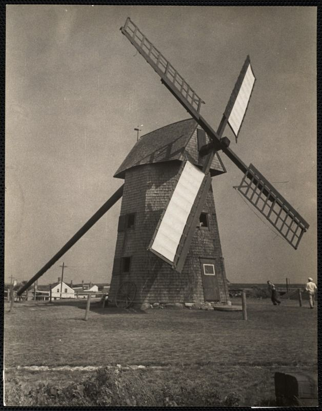 The Old Mill, Nantucket c. 1930s  https://www.digitalcommonwealth.org/search/commonwealth:cc08hq54g #windmill