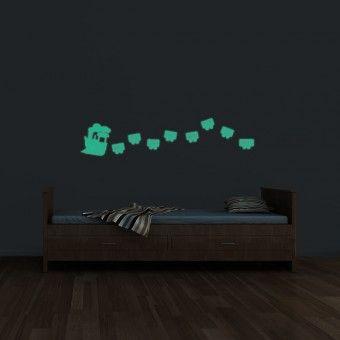 Sticker fosforescent - Trenulet : Fosforescente - ★ Stickere Decorative ★ Stickere.Net ✫ Autocolante decorative de perete ®