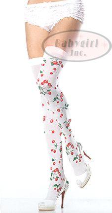 Leg Avenue 6282 - White Opaque Rockabilly font color=cc0000bCherry Print /b/fontThigh High Stockings $4.95
