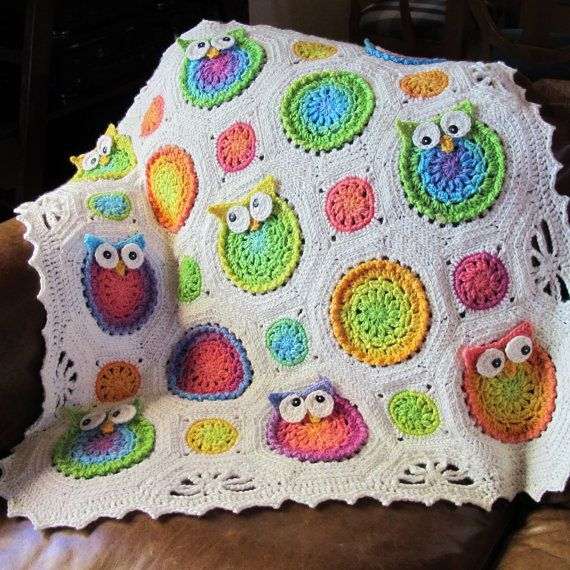 PATTERN  Owl Obsession  a CoLorFuL owl blanket by TheHatandI. , via Etsy.