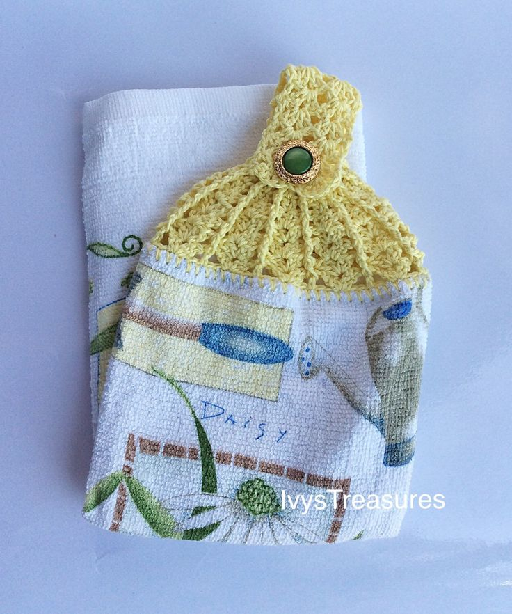 A personal favorite from my Etsy shop https://www.etsy.com/au/listing/276308878/crochet-topped-tea-towel-beautiful-daisy
