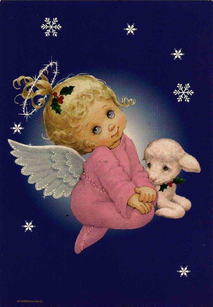 Открытка с колокольчиком и ангелов