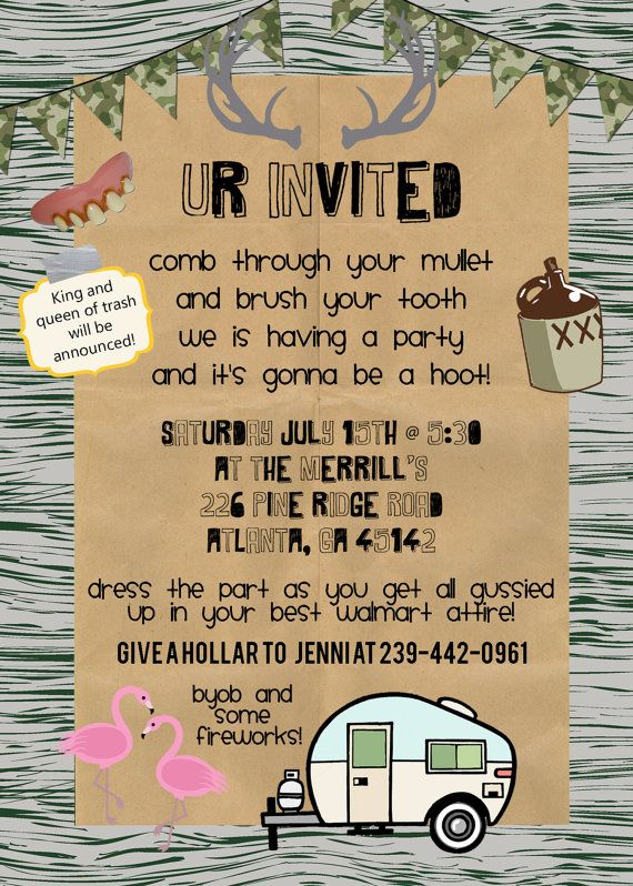 redneck party invite personalized and by kmcustomcreations