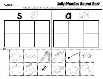 JOLLY PHONICS SOUND SORT WORKSHEETS - BOOKS 1 -7 - TeachersPayTeachers.com