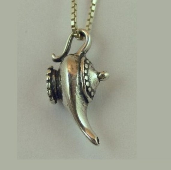 Silver Magic Lamp Charm Pendant by martymagic on Etsy, $75.00