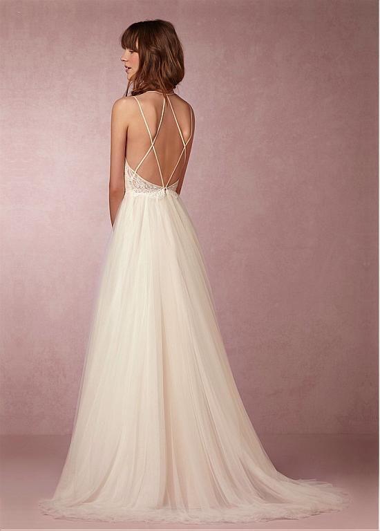 Fabulous Lace & Tulle Spaghetti Straps Neckline A-line Wedding Dresses