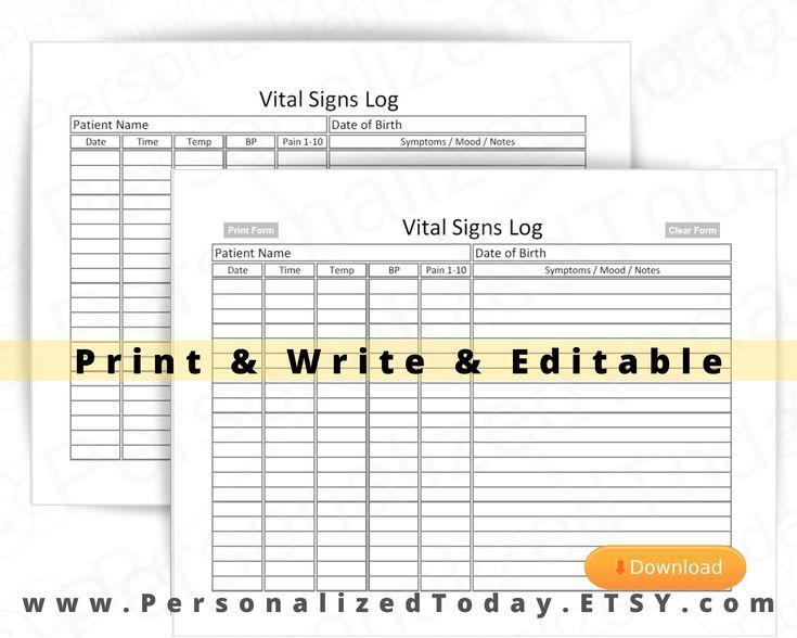 Vital Signs Log Fillable Editable and Print and Write PDF