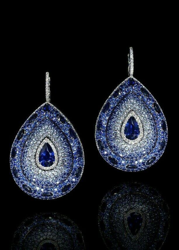 LEVIEV | 26.65 ct | Diamond and Sapphire Platinum Earrings | La Beℓℓe ℳystère