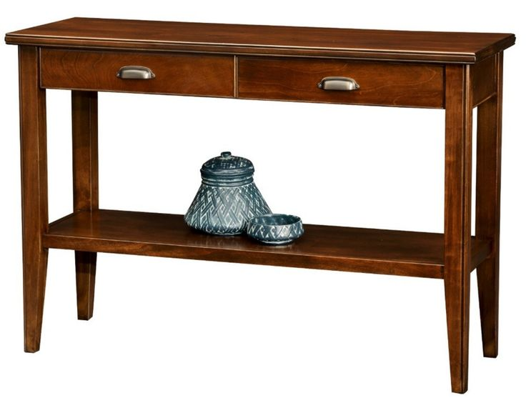 entryway storage console table with stretcher shelf and two drawers is crafted of solid hardwoods and