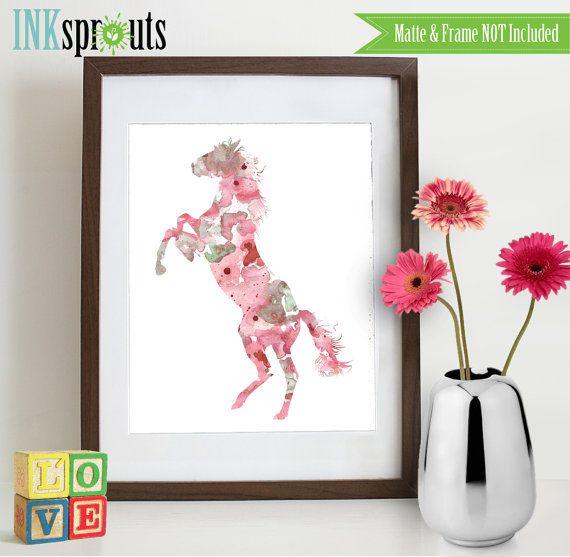 Aquarelle cheval Print, silhouettes aquarelles, animaux de la forêt, ferme, cowbow, western, poney, pépinière Print, animaux de la forêt, ItemWC033