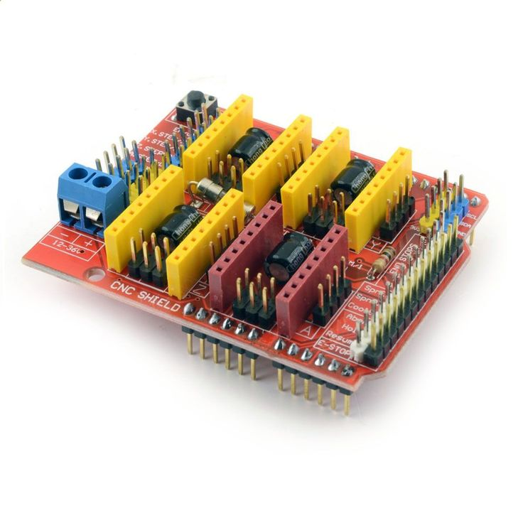 CNC V3 Arduino shield is a compact CNC controller with all necessary features to run small CNC router, engraver, laser or pick and place machine. Board is compatible with Arduino UNO and StepStrick A4
