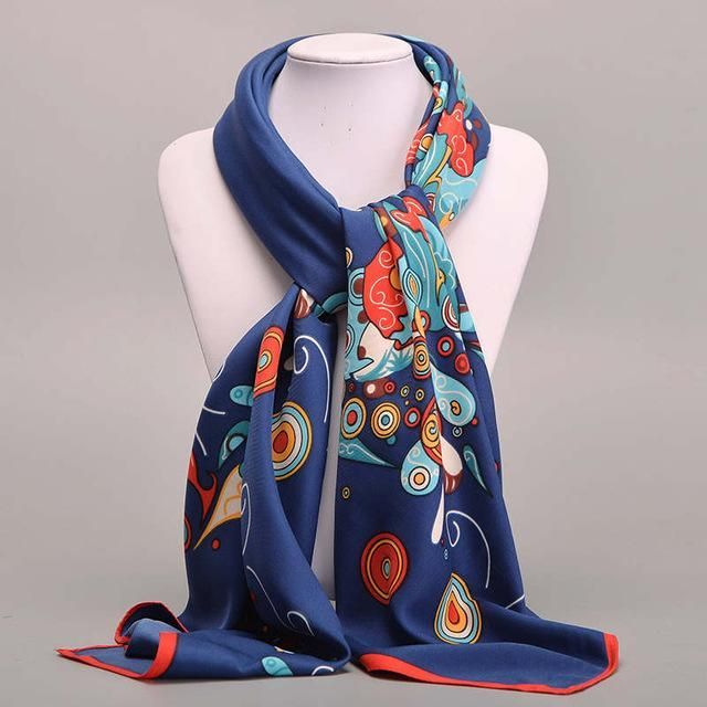 Large Square Twill Silk Scarf Women