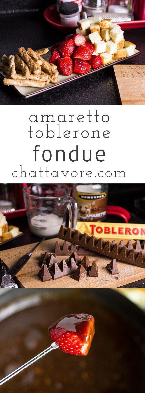 Amaretto & Toblerone Fondue is pretty much chocolate heaven in a fondue pot..rich creamy, and full of almond flavor! | recipe from chattavore.com