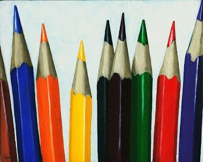 Colored Pencils - still life, painting by artist Linda Apple