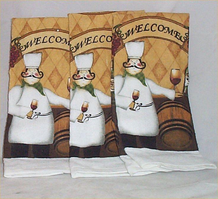 3 Fat Chef Kitchen Towels Bistro Kitchen Decor Waiter Decoration # 21