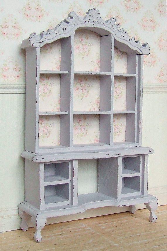 Dollhouse Miniature | Lilac Rose | Dresser Hutch Cabinet Furniture | Shabby Chic | 12th Scale