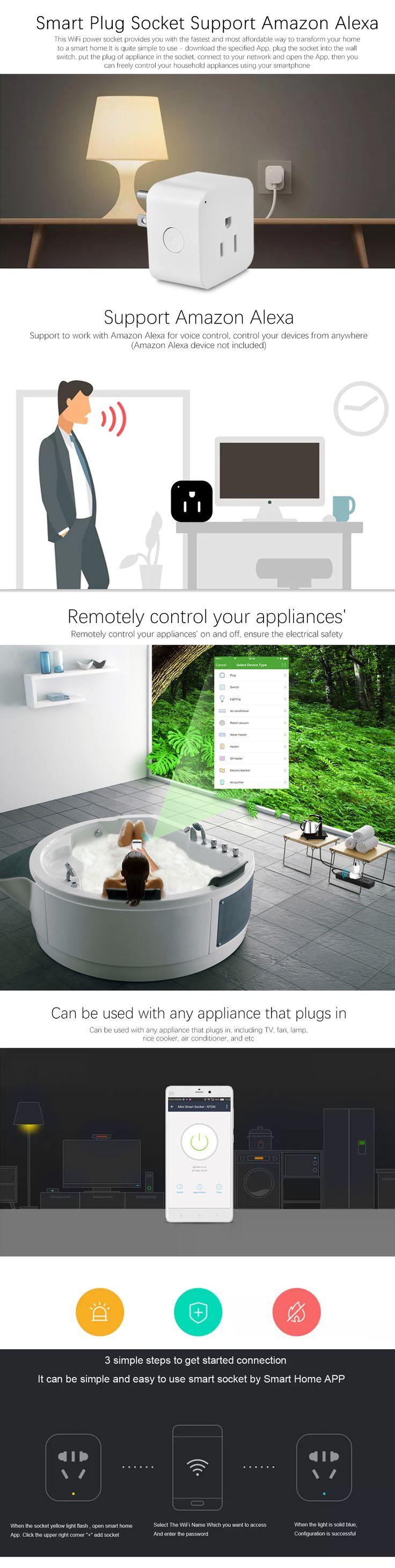 Smart Remote Control WiFi розетка Поддержка Amazon Alexa $ 11,99 Этот разъем питания WiFi предоставляет вам самый быстрый и доступный способ превратить ваш дом в умный дом. Он довольно прост в использовании - скачать указанное приложение, подключите разъем к настенному выключателю, положить вилку прибора в розетке, подключить к сети и открыть приложение, то вы можете свободно контролировать бытовую технику, используя свой смартфон.