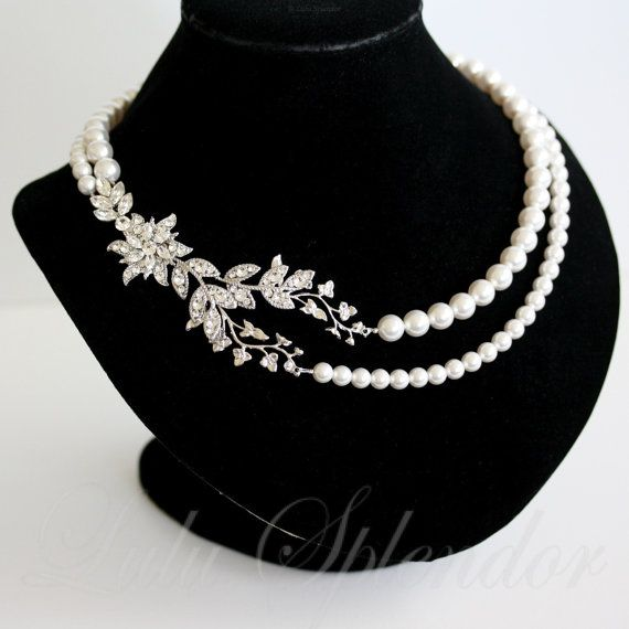 Pearl Wedding Necklace Vintage Bridal Necklace Crystal Flower and Leaf Statement Wedding Jewelry  HARLOW DELUXE