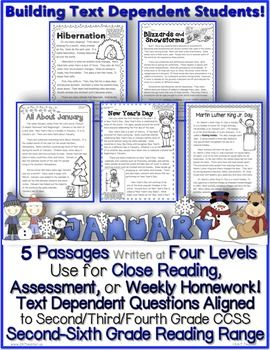Your fun literacy source for January reading!  Inside are 5 January themed information text passages written at FOUR different levels.  Use for Close Reading and/or week-long homework!  Also included in this packet are lesson ideas, text structure graphic organizers, and Common Core State Standard aligned worksheets for Informational Text CCSS.