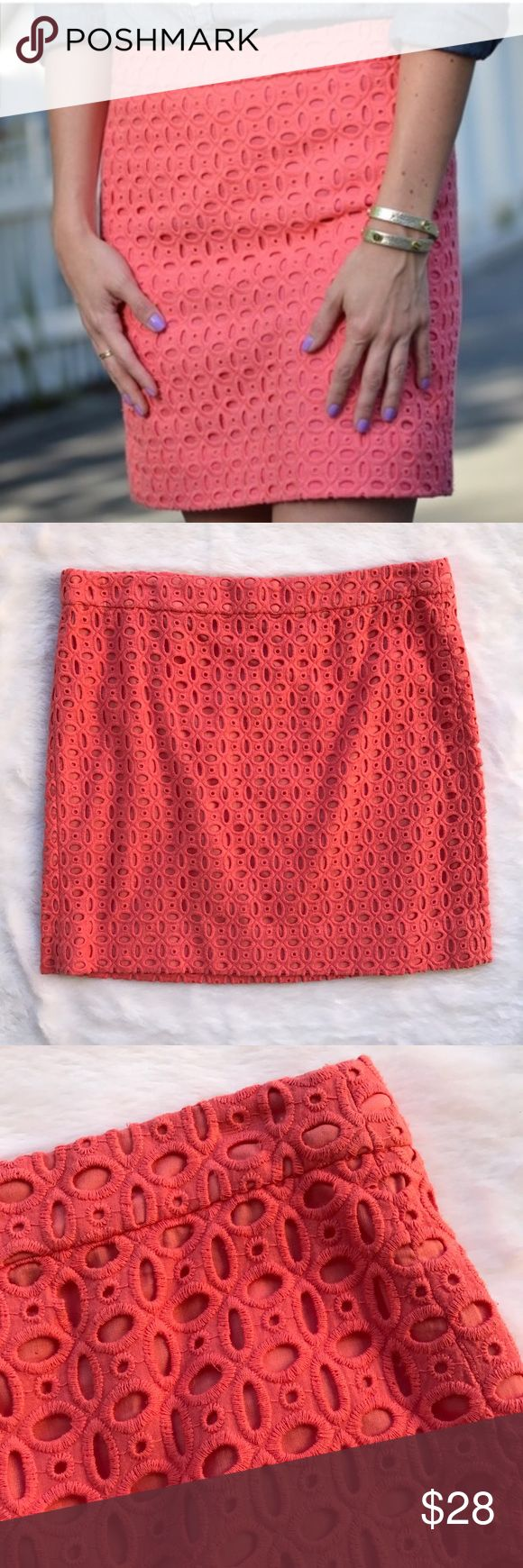 J. Crew Factory Pink Eyelight Mini Skirt Conditions: Like New Size: 8 Color: Coral Pink/ Peachy Pink Length: 17inch Waist: 16.5inch J. Crew Skirts Mini
