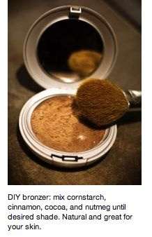 Working on budget cuts? Want a chemical-free make-up solution? Try this cool DIY bronzer! Made with products from your kitchen cupboard! #DIY #beauty #ChemicalFree