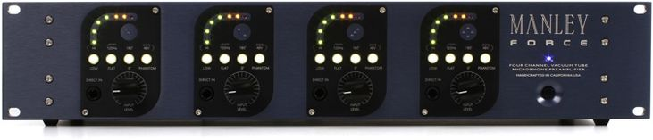 4-channel Tube Mic Preamp with Mic and DI Inputs, LED Peak Meter, HPF, Polarity Invert, and Phantom Power (Per Channel)