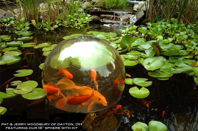Koi pond add a sphere see your fish above the pond for Surface fish ponds
