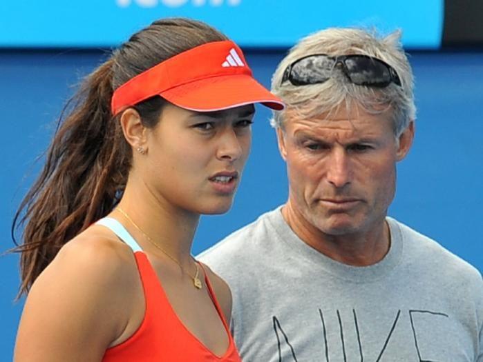 Ana Ivanovic with her coach Nigel Sears.