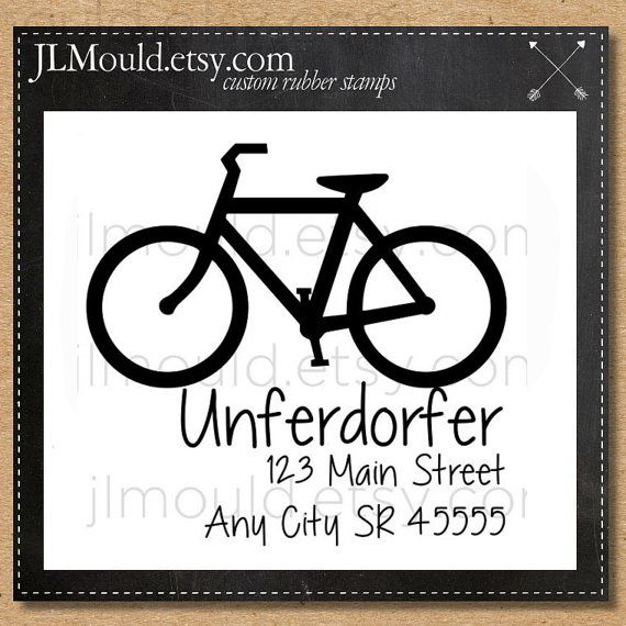 0037 Bike Handwriting Script Custom Rubber Stamp by JLMould,.etsy.com #bike #Bikestamp