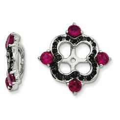 http://rubies.work/0059-sapphire-ring/ Jewelryweb Sterling Silver Created Ruby and Black Sapphire Earrings Jacket
