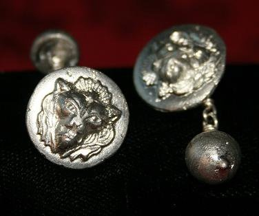 Handcast (in sand) Lion Head (Leo) Cufflinks with Sterling Silver Wire Links.  £20.00 plus P&P: Wire Link, Lion Head, Sterling Silver, Head Leo, Creations Jewellery, Silver Wire, Cat Creations