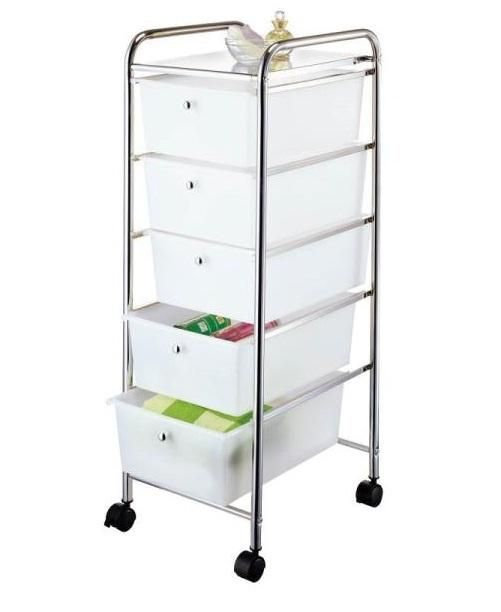 Homebasix G005 Ch Five Drawer Storage Cart Chrome Storage Drawers Storage Cart Plastic Storage Drawers