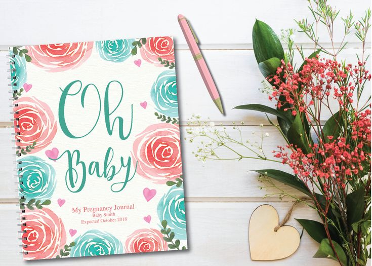 Personalized pregnancy diary with pre-arranged plans + diary format, Floral Oh Baby! P …   – Pregnancy Journals