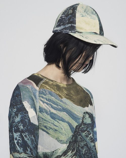 I love landscape prints. I really want to make my own spoonflower print and make a similar shirt.