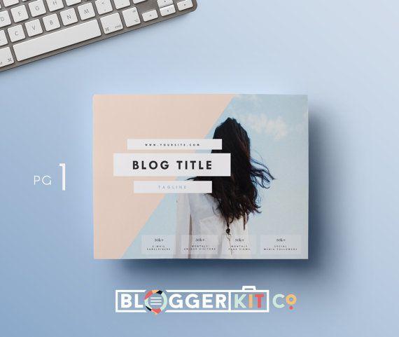 Two-Page Media Kit Template-Horizontal Press Kit by BloggerKitCo