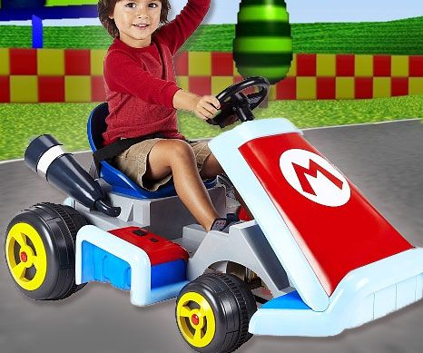 Driveable Super Mario Kart - Start your own real life Mario Kart race club when you and your fellow neckbeards get your hands on these driveable Super Mario Karts! Styled after Marios own racing kart, it features signature sounds effects from the game and jets through any course at a blistering 2.5 MPH.