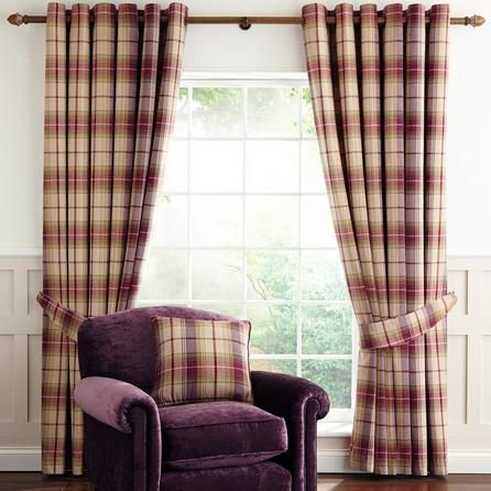 Dorma Bloomsbury Check Herringbone Cream & Plum Purple Cotton Lined Eyelet Curtains (228cm x 137cm)