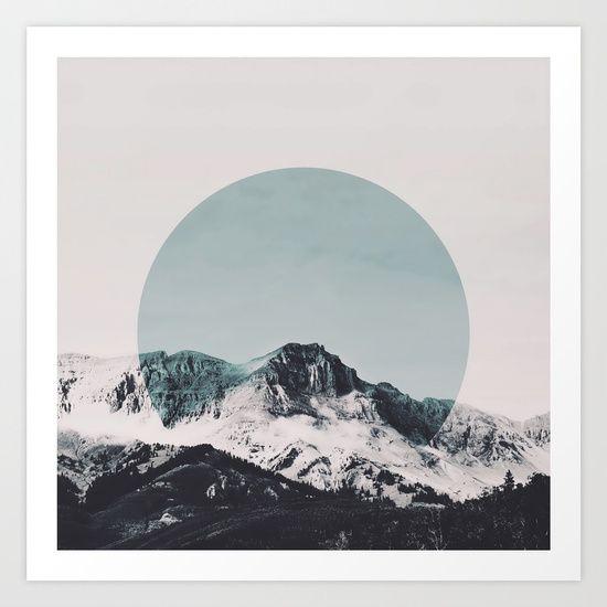 mountain, circle, shape, geometric, geometrical, green, sky, forest, cloud