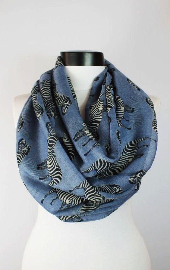 zebra gray scarfprint scarflong by starshopboutique on Etsy