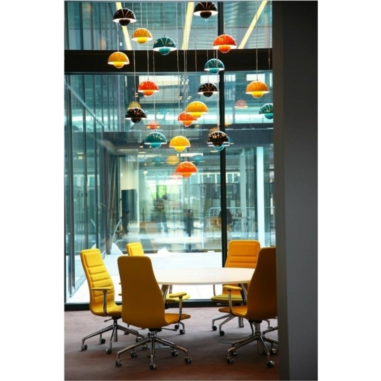 The 'flowerpot' lamp (Anno 1971). Used in an innovative way in a conference room. Especially since these lamps function as art during the day when you don't need them. Beautiful and timeless and waiting for you at www.designpublic.com.