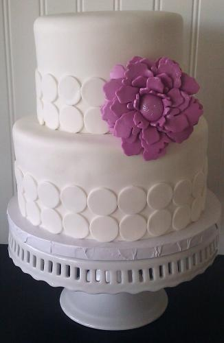 Modern All White Wedding Cake with Violet Flower